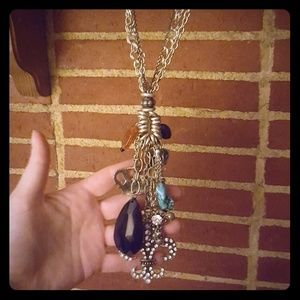 Handmade Forged Silver Charm Necklace w Earrings